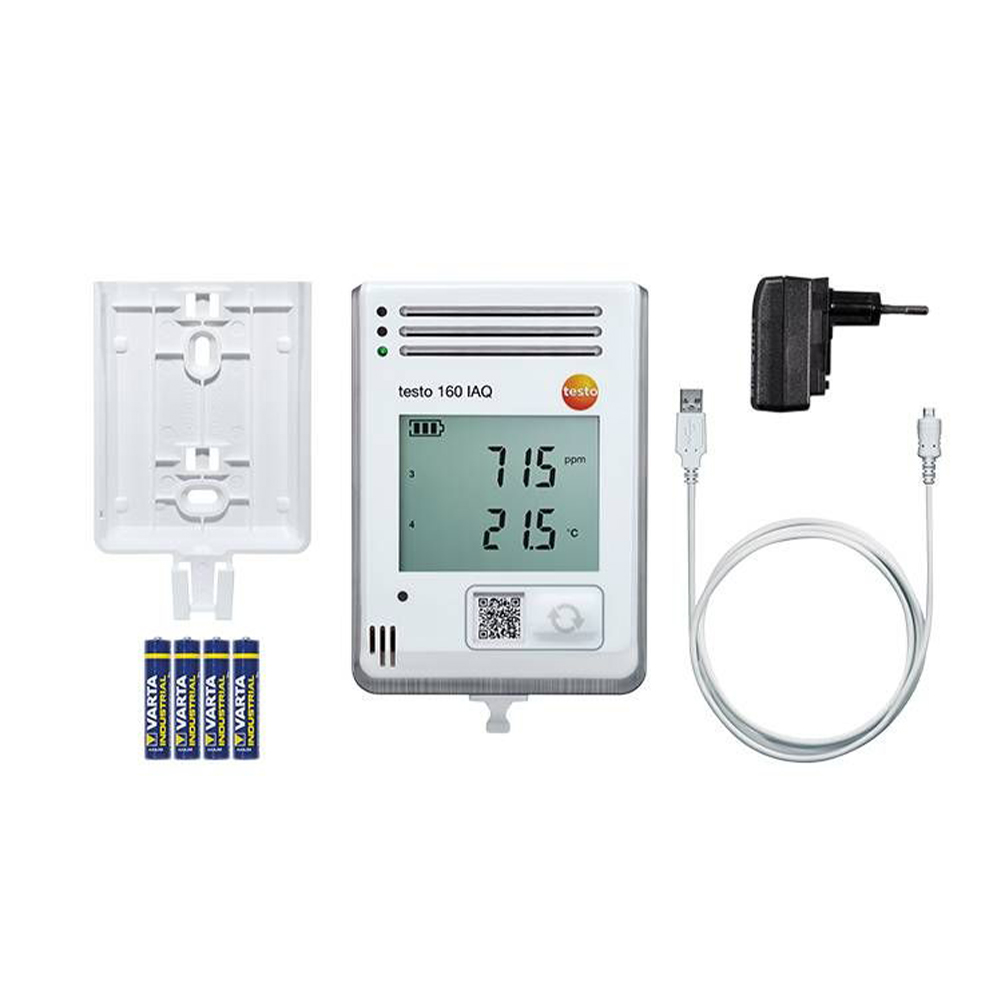 Testo 160 IAQ Wi-Fi Data Logger - Internal Temperature, Humidity, CO2, and Atmospheric Pressure Sensors