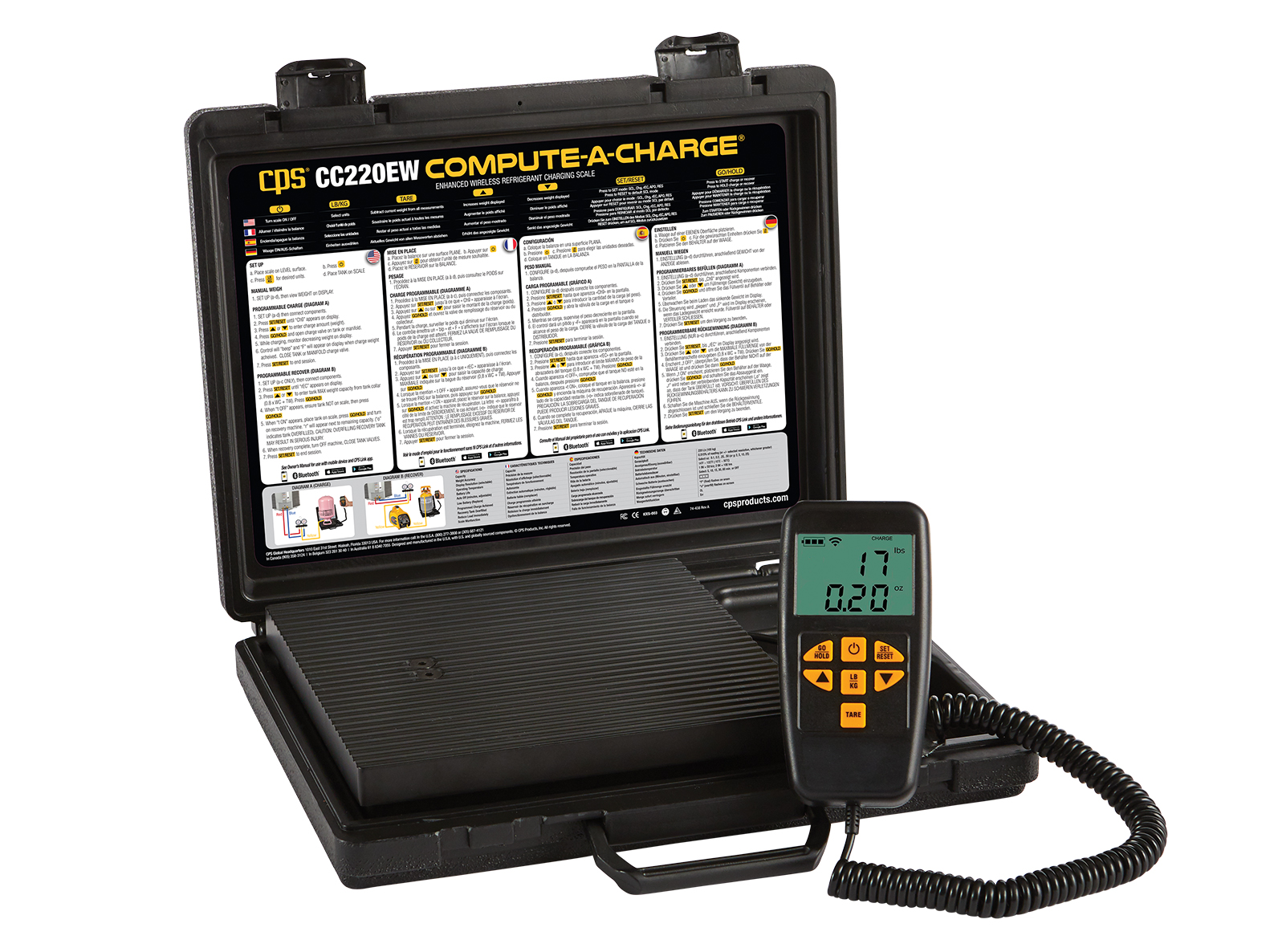 CPS CC220EW Enhanced Refrigerant Charging Scale
