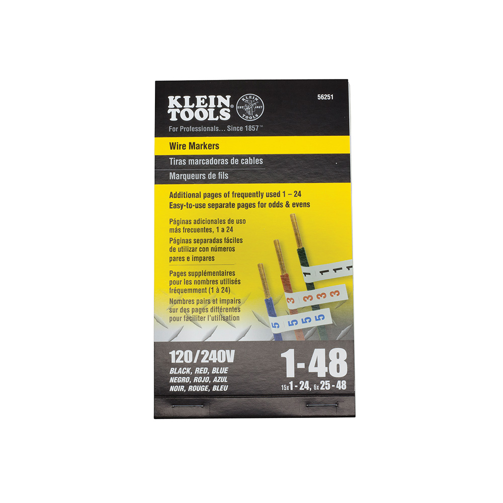 Klein Tools 56251 Wire Markers-120/240V 3 Phase 1-48