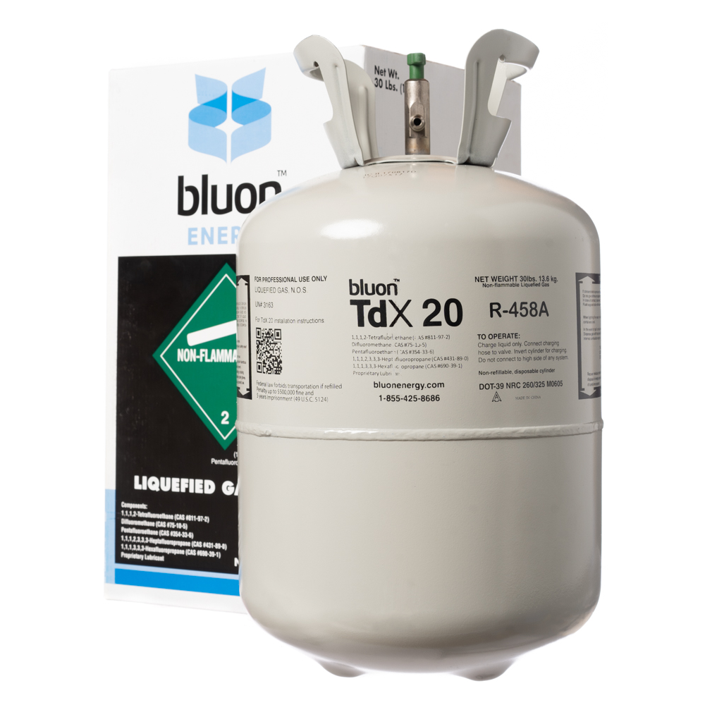 Bluon R22 Retrofit Solution, One 30 LB R458A Cylinder w/ Installation Support