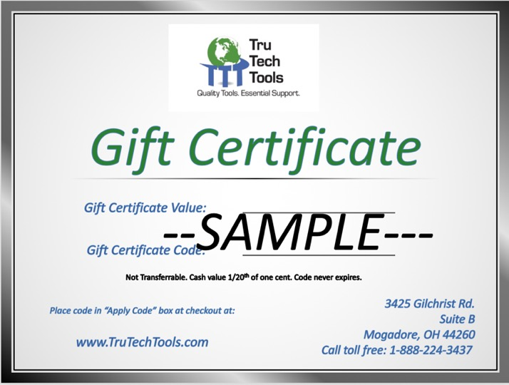 $100 Gift Certificate for use at TruTech Tools - Digital Delivery