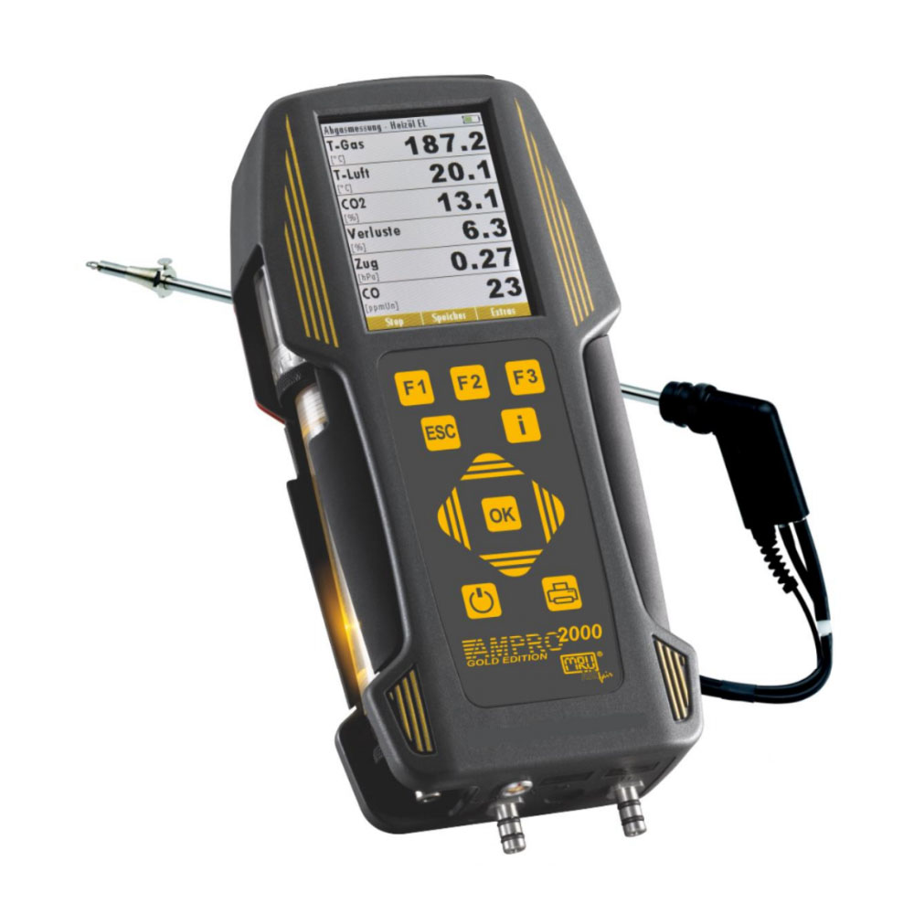 MRU AMPRO 2000 Combustion Analyzer - Kit 2 with Printer (O2/CO and CO2)