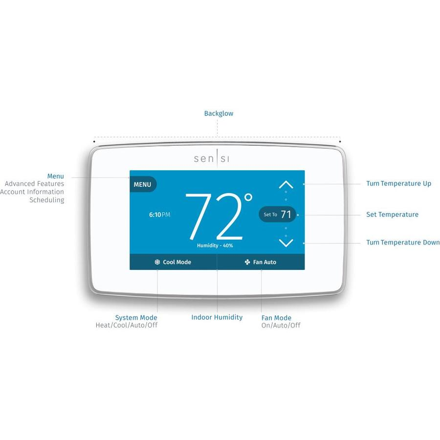 Sensi Pro Smart Thermostat with Touch Screen by Emerson, 5 Year Warranty - White