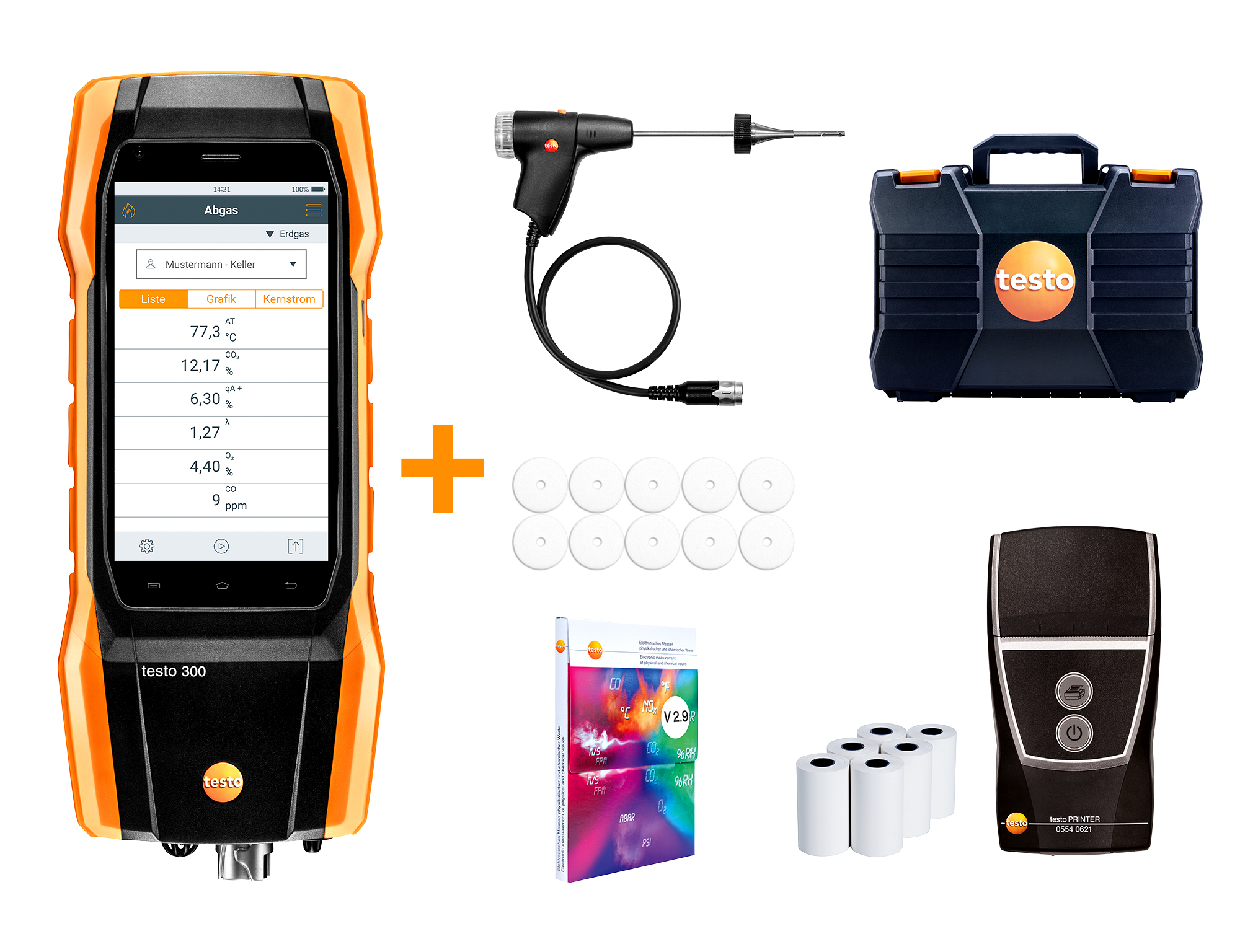 Testo 300 LL - Commercial / Industrial Combustion Analyzer with Printer and NOx Measurement