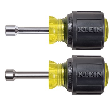 "Klein Tools 610M Stubby Nut Driver Set 1-1/2"" Shafts Magnetic 2 Pc"