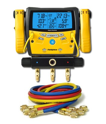 "Fieldpiece SMAN340 Digital Manifold with Clamps with 60"" Anti-Blowback 3-Hose Pack"