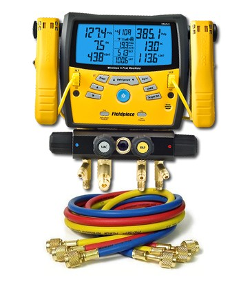 "Fieldpiece SMAN440 Digital Manifold with Clamps with 60"" Anti-Blowback 3-Hose Pack"