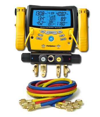 "Fieldpiece SMAN460 Digital Manifold with Clamps with 60"" Anti-Blowback 3-Hose Pack"