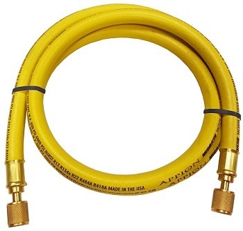 "Appion Megaflow 1-Foot 3/8"" Dia. 1/4"" Straight - 1/4"" 45 deg Yellow Hose"