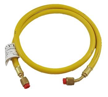 "Appion YELLOW 3/8 dia hose, str 1/4"" x 45 deg 1/4"" 5 long"