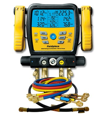 "Fieldpiece SM480V Digital Manifold with Micron Gauge and Set of 4 Premium 60"" Ball Valve Hoses"