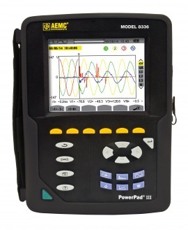 AEMC 8336 PowerPad III True RMS Power Quality Analyzer - 2 & 3 Phase, 40 to 70Hz