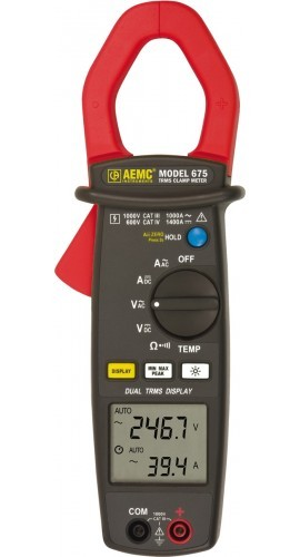 AEMC 670 Dual Display True RMS Clamp Meter with Temperature, AC Amps and AC/DC Volts
