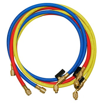 NAVAC NRHH53C Refrigerant Hoses 5 Feet Long Set of 3 with Low Loss Valve